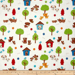 Riley Blake Puppy Love Main White Fabric