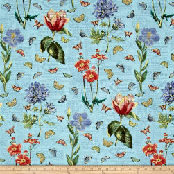 Bookshelf Botanical Botanical Aqua Fabric