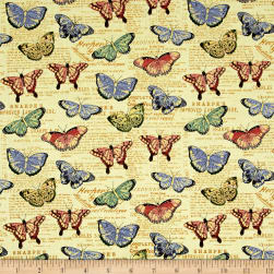 Bookshelf Botanical Butterflies Buttercup Metallic Fabric