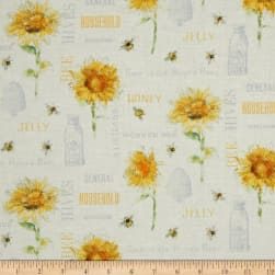 Bee My Sunshine Collage Cream Fabric