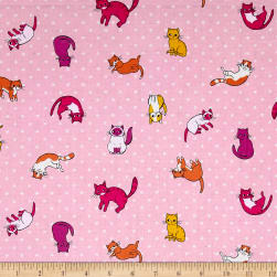 Caturday Kitty Toss Rose Fabric