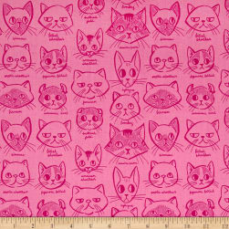 Caturday Catitude Pink Fabric