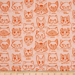Caturday Catitude Orange Fabric