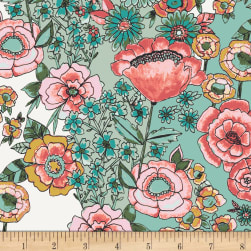 Art Gallery Wild Bloom Jersey Knit Flower Shower Subtle Turquoise Fabric