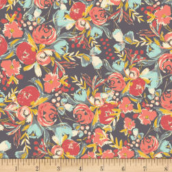 Art Gallery Wild Bloom Rayon Challis Flowerfield Sunset Dark Grey