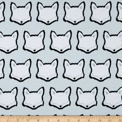 Art Gallery Nest Stretch Jersey Knit Clever Little Fox Light Blue Fabric