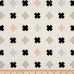 Art Gallery Nest Stretch Jersey Knit Tic Tac Toe White Fabric