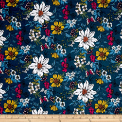 Botanica Exotic Floral Pacific Blue Fabric