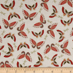 Japanese Garden Butterflies Red Fabric