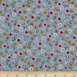 Japanese Garden Maple Leaf Blue Fabric