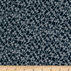 Japanese Garden Blossom White On Blue Fabric