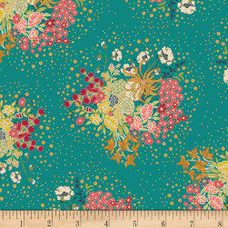Art Gallery Indie Folk Verdant Bloom Turquoise Fabric
