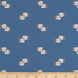 Flower Stamp Spell Blue Fabric