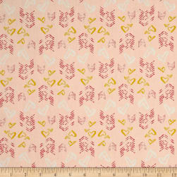 Hearts Fletching Gold Light Pink Fabric