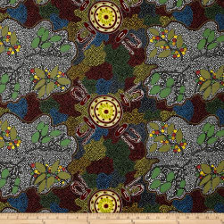 Australia Bush Women Gathering Bush Tucker Black Fabric