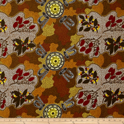 Australia Bush Women Gathering Bush Tucker Brown Fabric