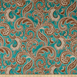 Plush Darling Flourish Chenille Jacquard Turquoise Fabric