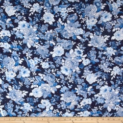 Kaufman Bordeaux Rayon Challis Midnight Flower Fabric
