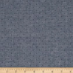 Kaufman Sevenberry Classiques Chambray Dots Blue Fabric
