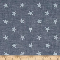 Kaufman Sevenberry Classiques Chambray Stars Royal Fabric