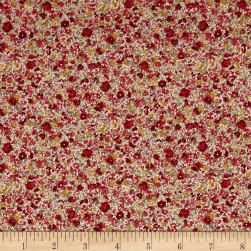 Kaufman Sevenberry: Petite Garden Lawn Flowers Red Fabric