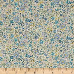Kaufman Sevenberry: Petite Garden Lawn Flowers Blue Fabric