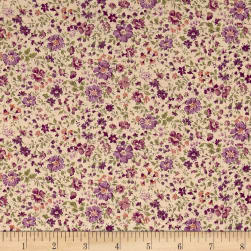 Kaufman Sevenberry: Petite Garden Lawn Flowers Purple Fabric