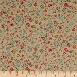 Kaufman Sevenberry: Petite Garden Lawn Flowers Natural Fabric