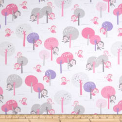 Kaufman Monkey Hangout Flannel Monkey Trees Pink Fabric