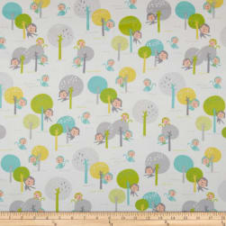 Kaufman Monkey Hangout Flannel Monkey Trees Garden Fabric