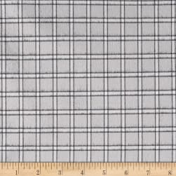 Kaufman Brooklyn Plaid Flannel Silver Fabric
