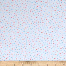 Kaufman Cuddly Kittens Flannel Dot Blue Fabric