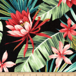 Kaufman Sevenberry Island Pardise Barkcloth Black Fabric