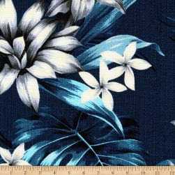 Kaufman Sevenberry Island Pardise Barkcloth Navy Fabric