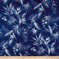 Kaufman Sevenberry: Island Pardise Barkcloth Blue Fabric