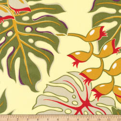 Kaufman Sevenberry Island Paradise Leaves Yellow Fabric