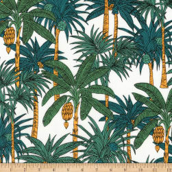 Kaufman Sevenberry Island Paradise Palm Trees White Fabric