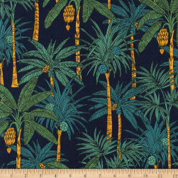 Kaufman Sevenberry Island Paradise Palm Trees Navy