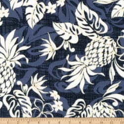 Kaufman Sevenberry Island Paradise Pineapples and Flowers Denim