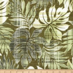 Kaufman Sevenberry Island Paradise Leaves Green Fabric