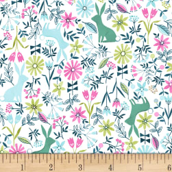 Dear Stella Mint Julep Bunnies White Fabric