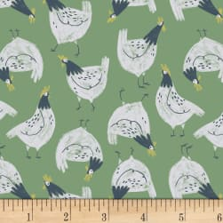 Dear Stella Garden Sanctuary Chickens Shamrock Fabric