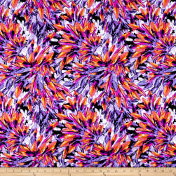 Pine Crest Fabrics Activewear Knit Feathers Orange/Purple Fabric