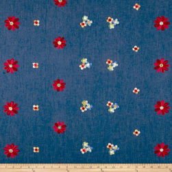 Telio Denim Floral Embroidery Blue/Red/Yellow Fabric