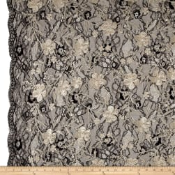 Telio Elise Embroidered Chantilly Lace Mushroom Fabric
