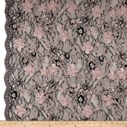 Telio Elise Embroidered Chantilly Lace Dusty Pink Fabric