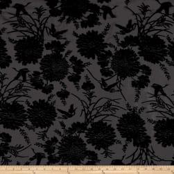 Telio Velvet Devoree Woven Burnout Flowers/Birds Black Fabric