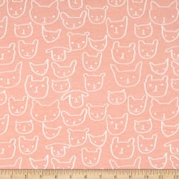 Cotton + Steel Jersey Knit Hello Cat Faces Peach Fabric