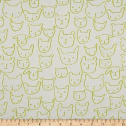 Cotton + Steel Jersey Knit Hello Cat Faces Citron Fabric