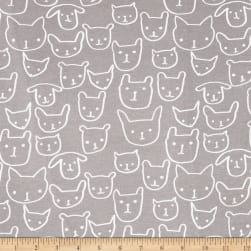 Cotton + Steel Jersey Knit Hello Cat Faces Grey Fabric